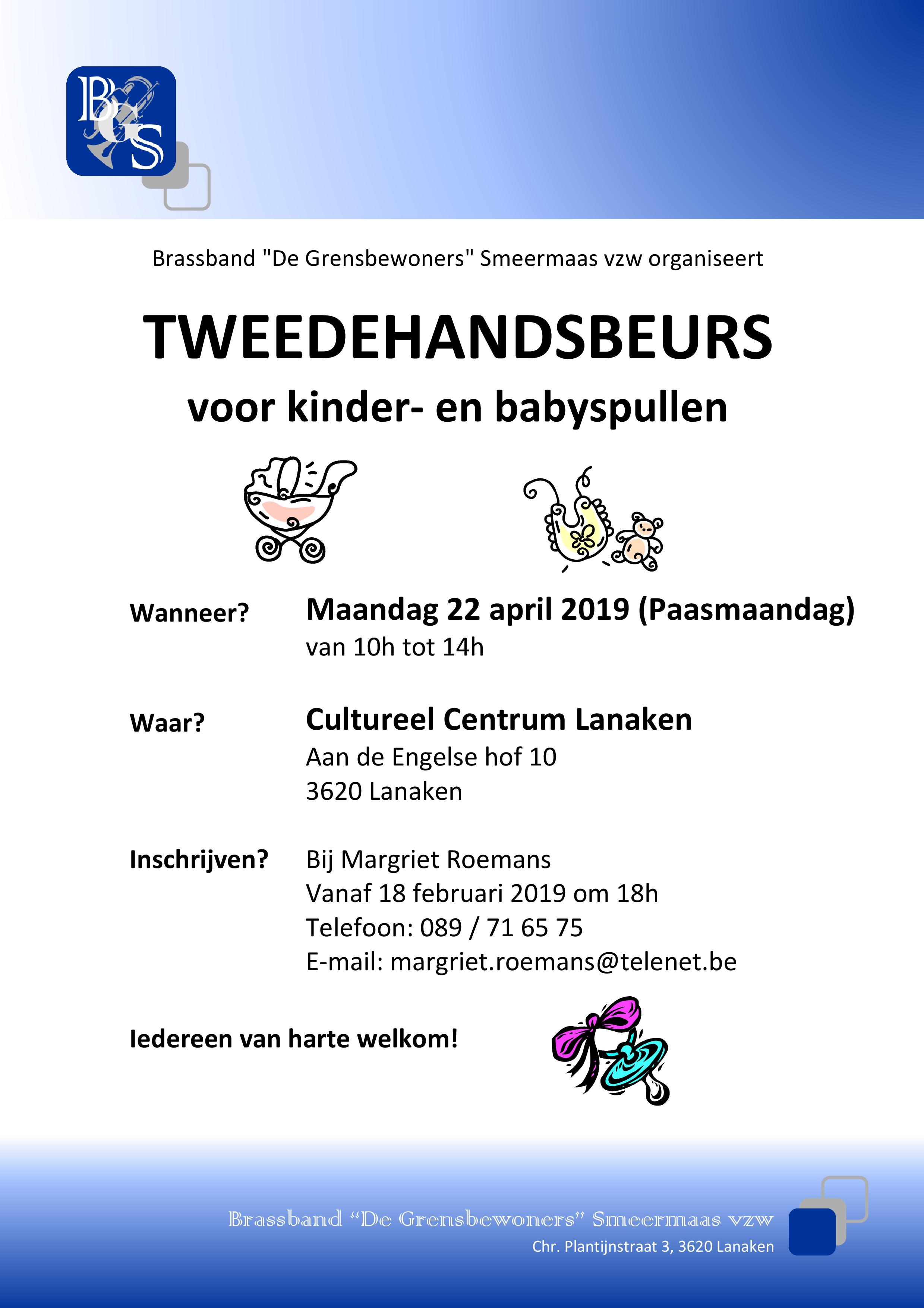 Tweedehandsbeurs voor kinder- en babyspullen georganiseerd door Brassband Smeermaas